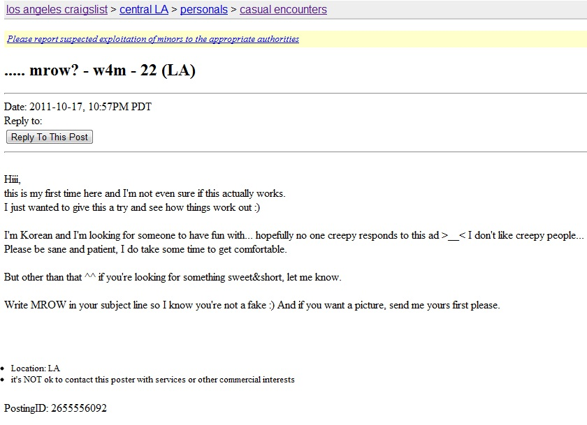 Personal ads casual encounters