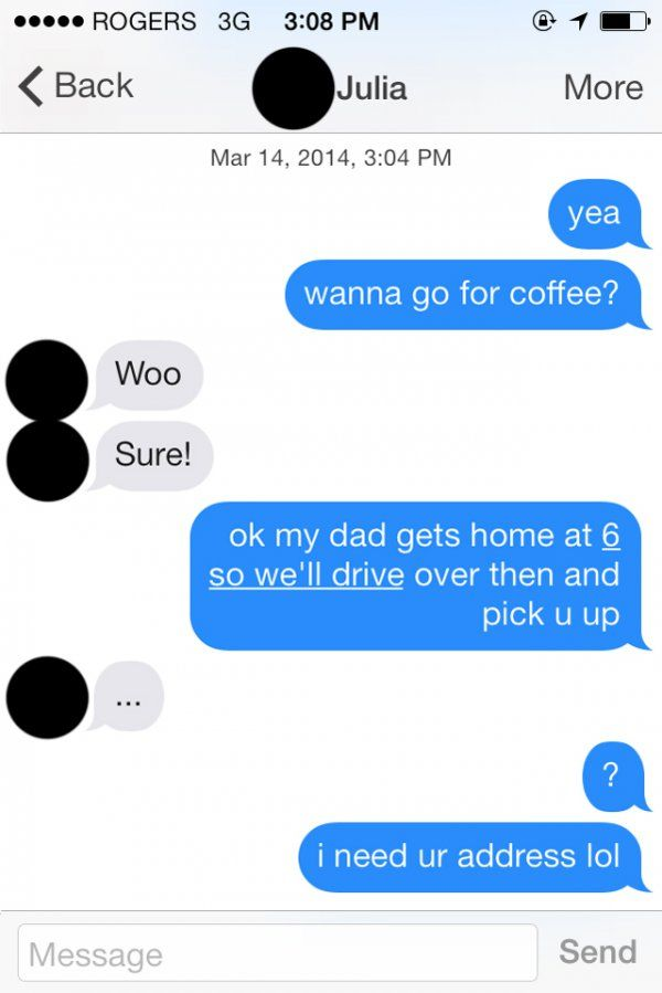 Texting conversations with a guy