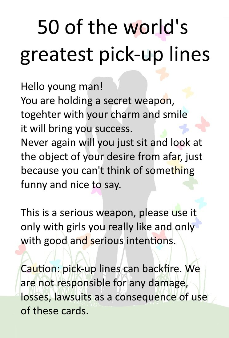 Witty pick up lines for guys