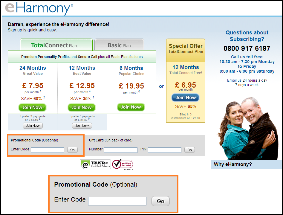 Promo code for eharmony free month