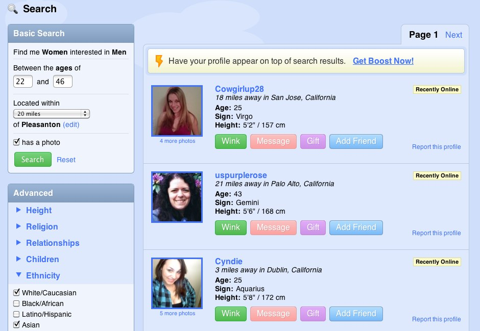 Zoosk name search