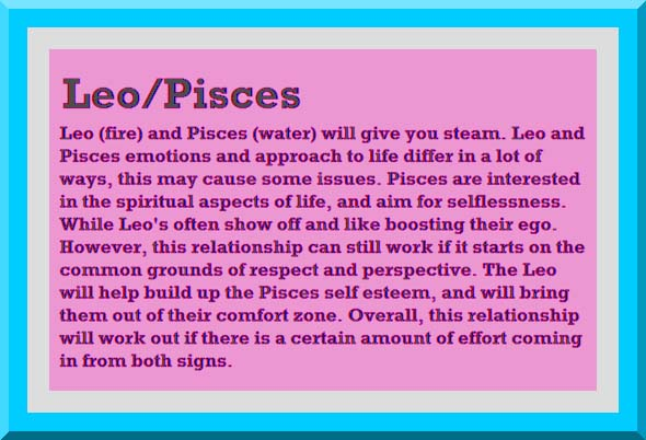 Horoscope compatibility leo and pisces