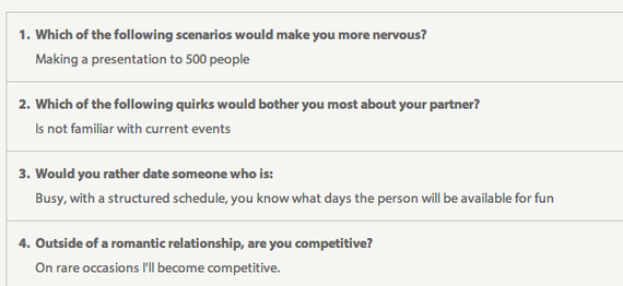 Eharmony open ended questions
