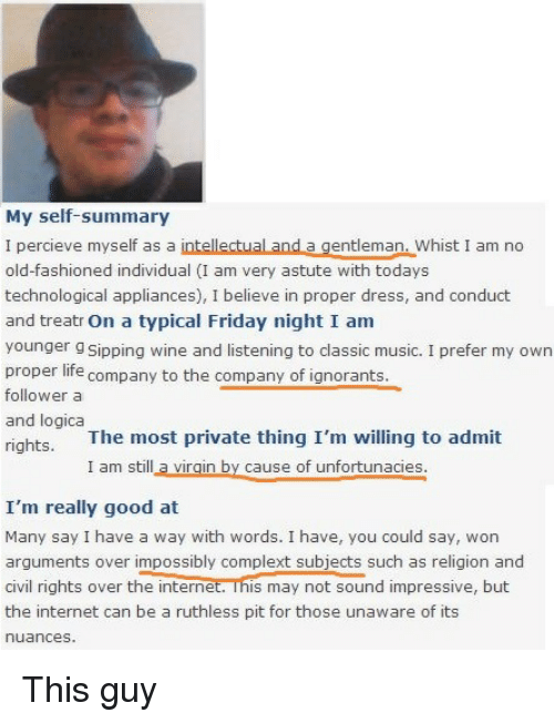 Dating site self summary