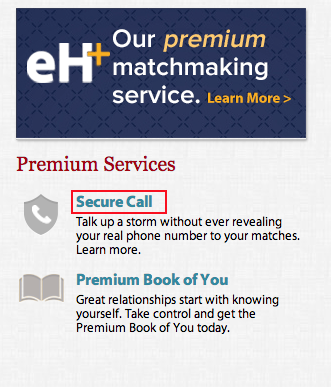Eharmony secure call