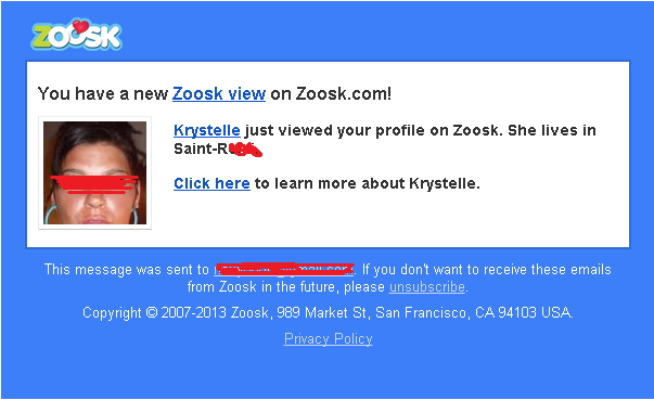 Zoosk text messages