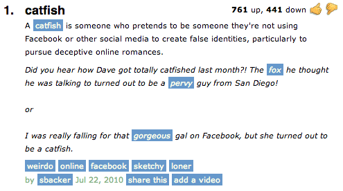 Catfishing online meaning