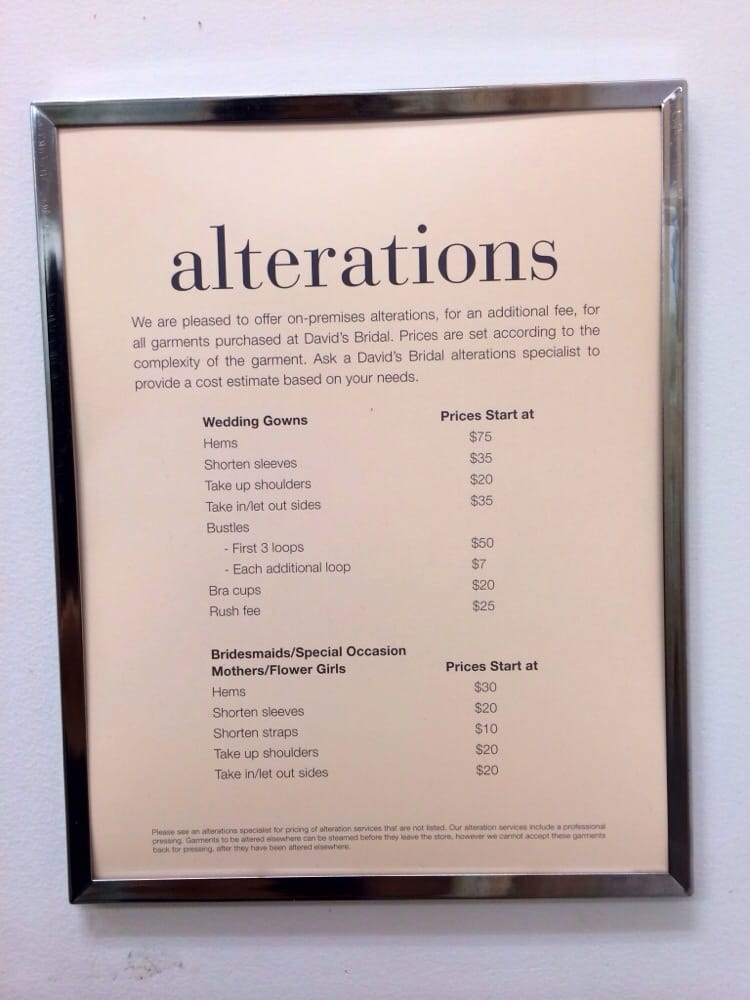 Davids bridal alteration prices