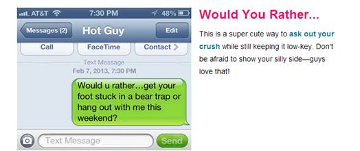 Examples of flirty texts