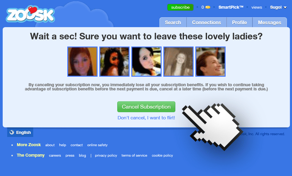 Unsubscribe zoosk