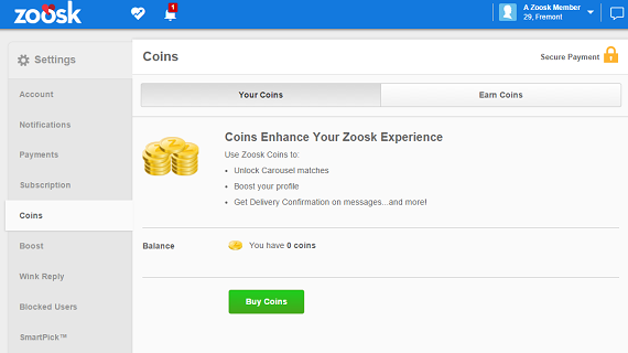 What do zoosk coins do