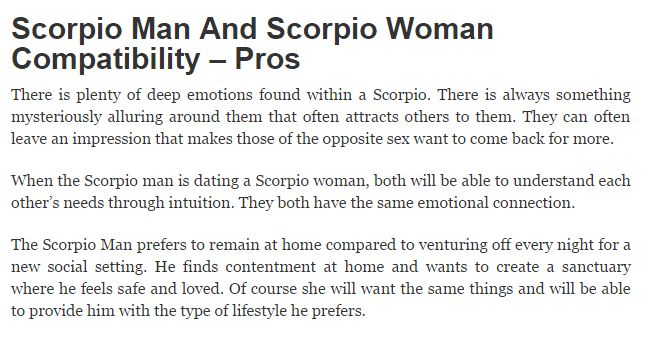 Two scorpios dating