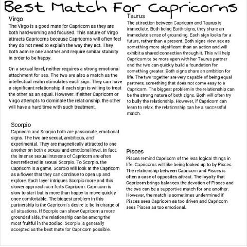Perfect match for capricorn woman