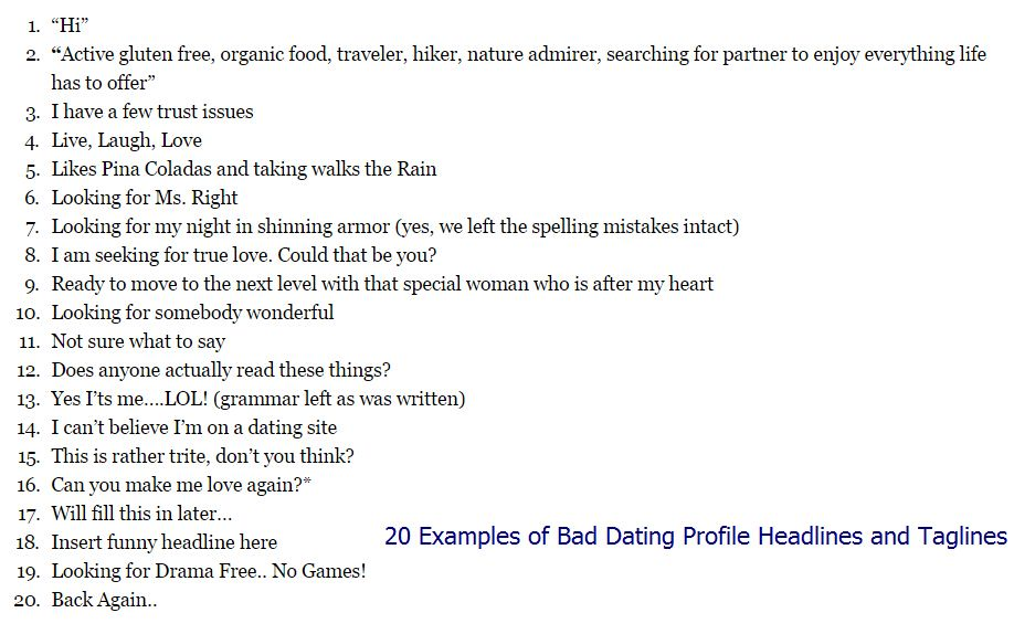 Dating sites headlines examples