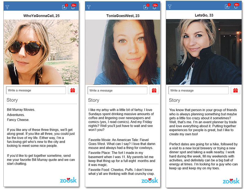 Examples of bumble profiles