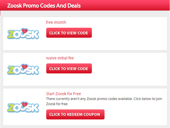 Free promo codes for zoosk