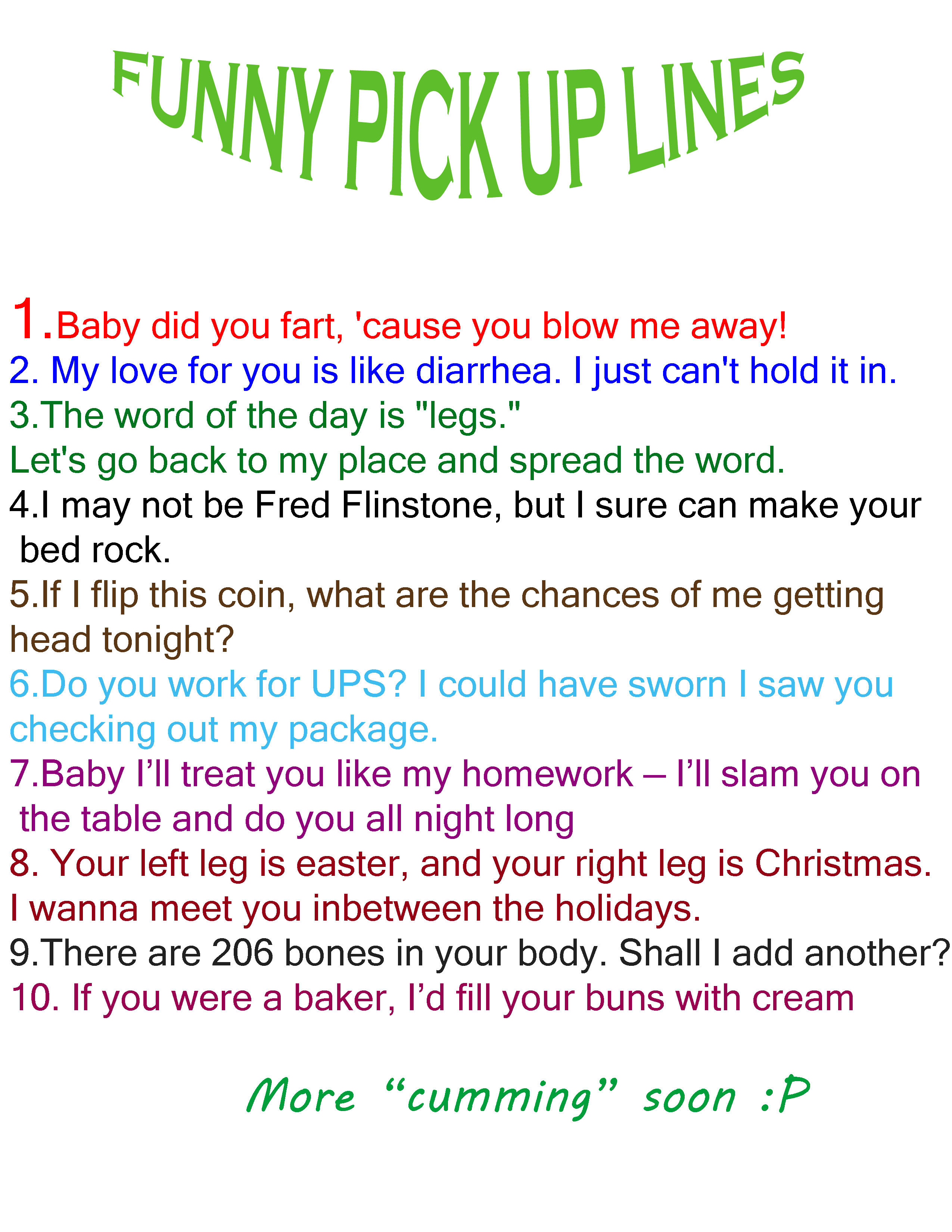 Raunchy pickup lines for guys