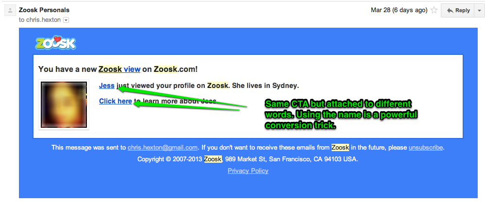 Zoosk unsubscribe email