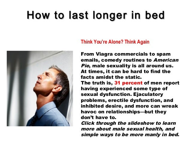 How to last longer sexually naturally