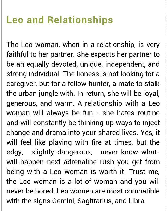 Best match for a leo female