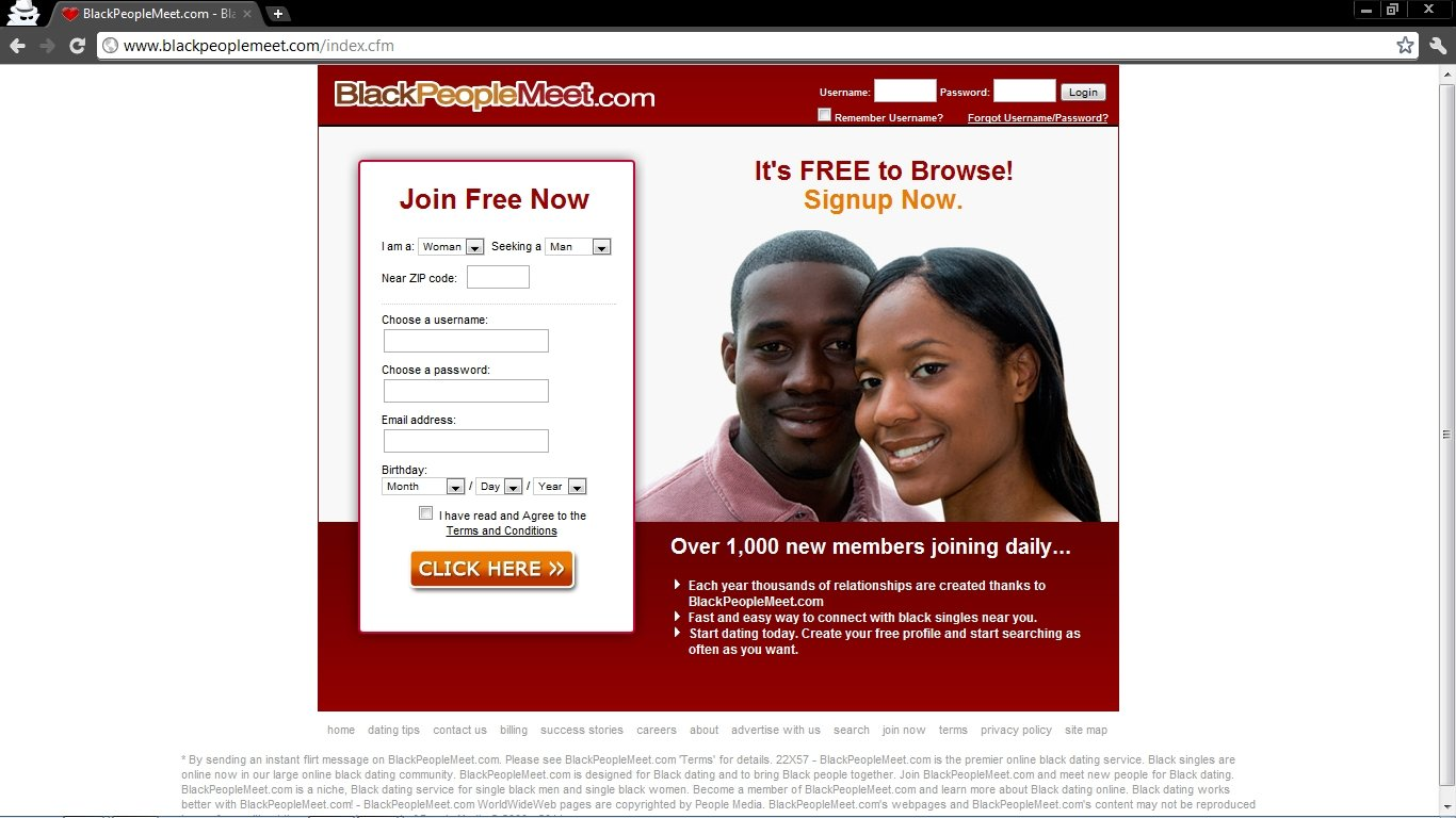 Blackpeoplemeet com home page