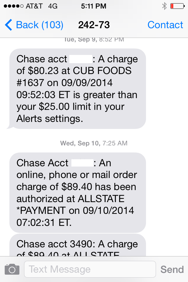 Chase texting number