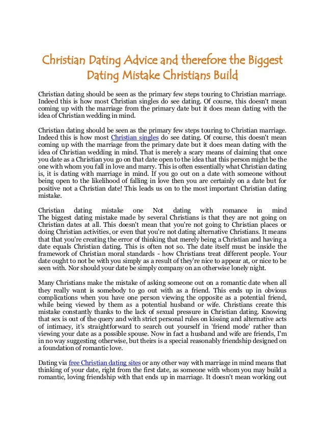 Christian dating singles advice
