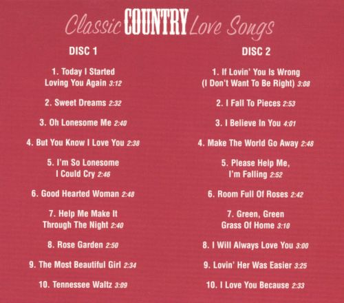 Classic country love songs
