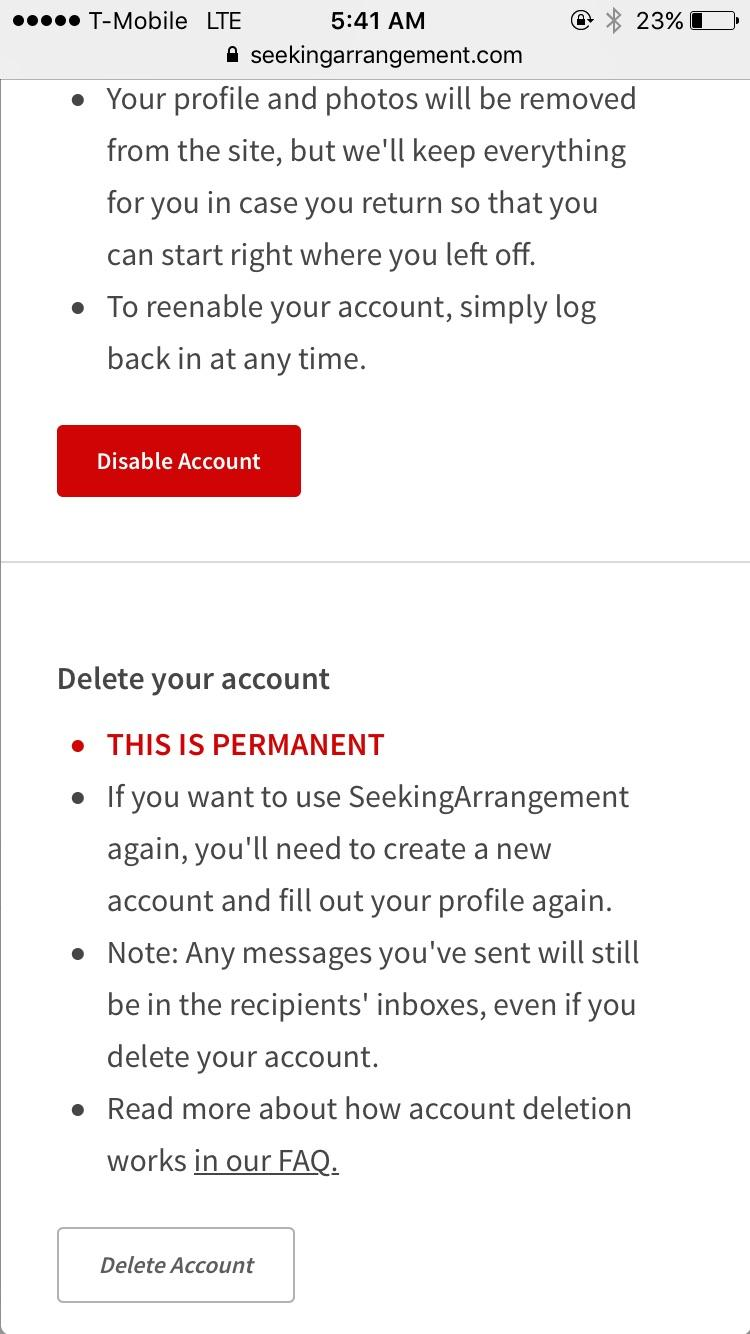 Delete seekingarrangement account