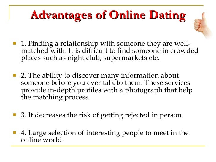 Disadvantages of online dating essay