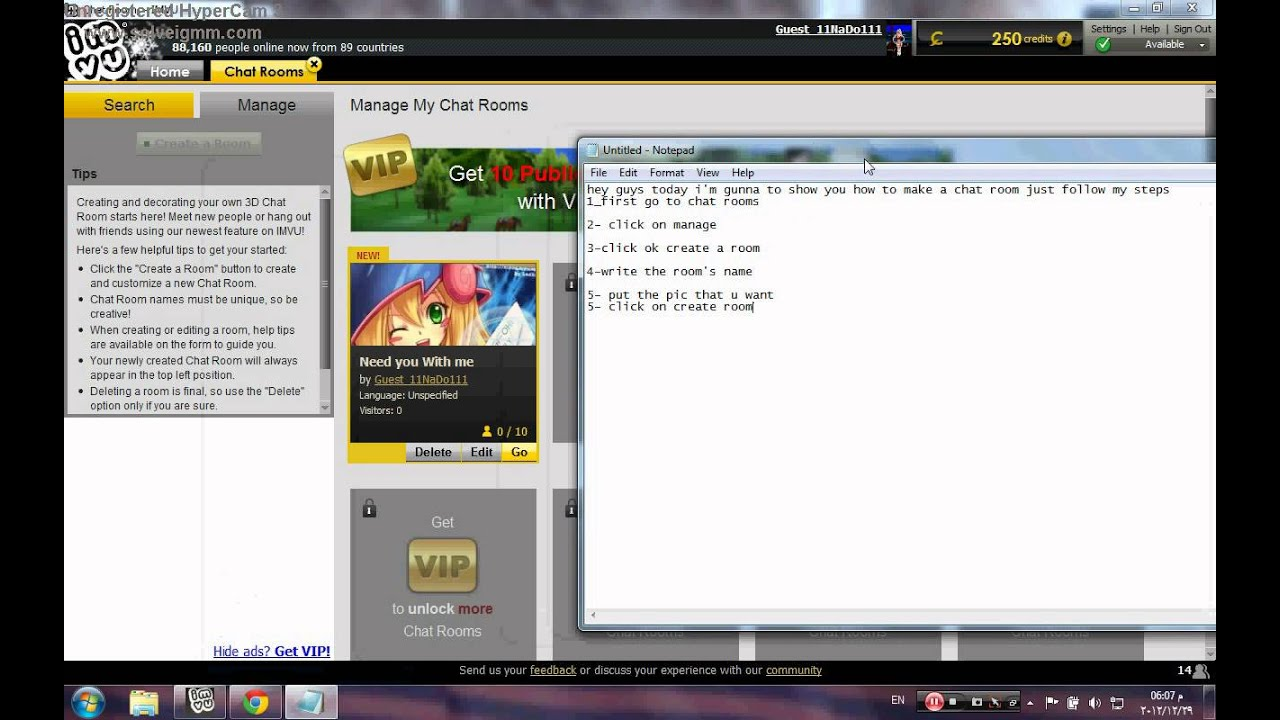 Imvu 3d chat room