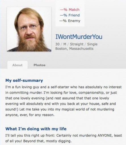 Funny dating site profiles