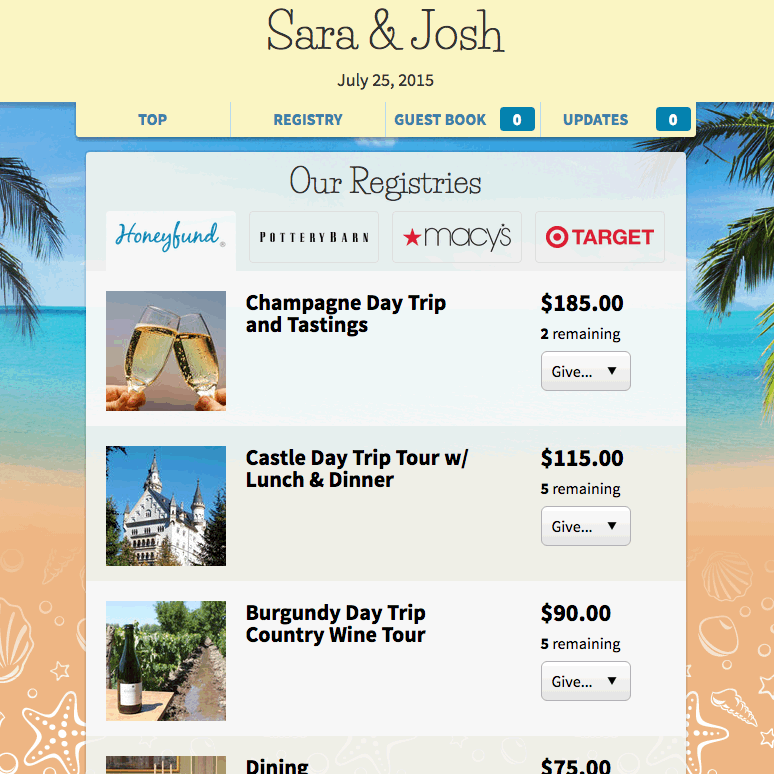 Honeymoon registry sites reviews