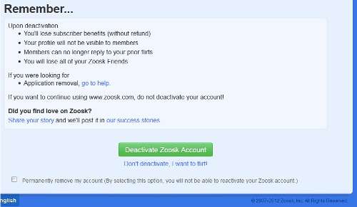 How do you deactivate zoosk