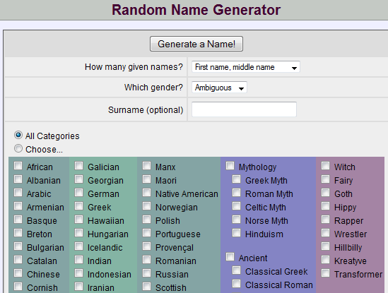 Name generator behind the name