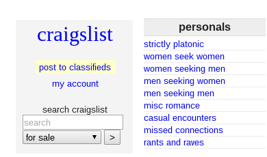 Search all craigslist personals