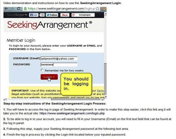 Seekingarrangement login page