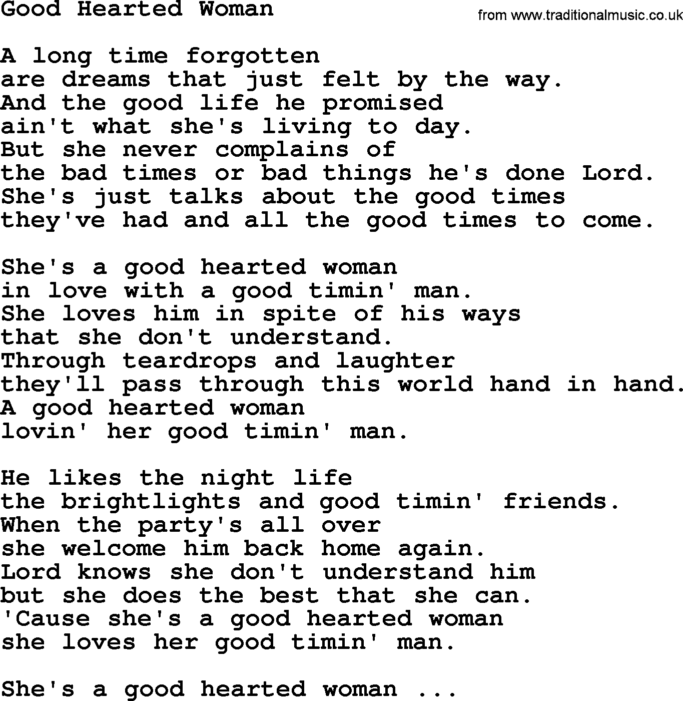 Songs about a good woman