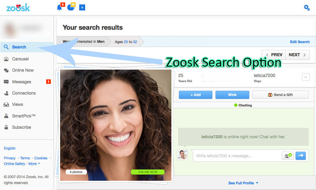 Zoosk add button