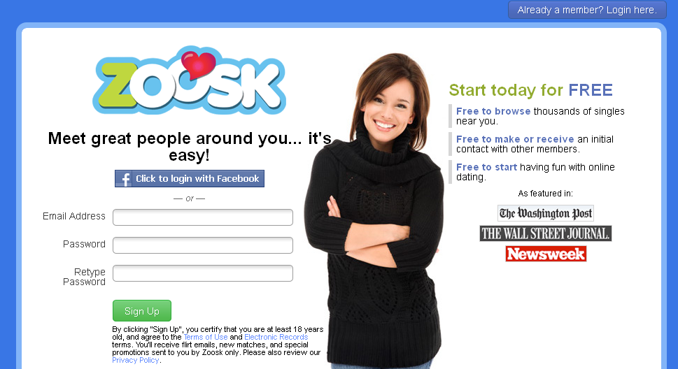 Zoosk facebook spam